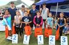 FUTURE STARS: The 2014 Jetstar Super Swim squad Kaylah Smith, 10 (left); Mason Bell, 10; Tarquin Magner, 9; Natalie Burke, 9; Sam Kilduff, 8; and Talitha McEwan, 8. Back row: Nathan Capp, Charlotte Webby, Rhys Mainstone, Leah Cutting.PHOTO/SIMON WATTS 270314SP01BOP