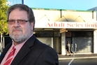 BLANKET BAN: Napier Mayor Bill Dalton, outside Adult Selections in Napier, wants to eradicate all psychoactive substances. PHOTO/DUNCAN BROWN HBT140069-03