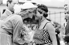Princess Diana receiving a hongi from Susan Piper, then aged 16, in April 1983. Photo / NZ Herald