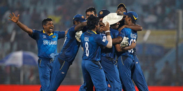 Sri Lanka players celebrates their victory against New Zealand. Photo / AP
