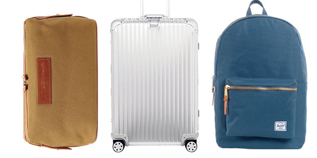 Essential travel kit: Want Les Essentiels de la vie canvas wash kit, about $225. Rimowa 78cm suitcase, about $1420, from MrPorter.com. Herschel canvas backpack, $110, from Area51. Ph (09) 309 1922