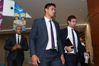 Jordan McLean of the Melbourne Storm arrives at the NRL Judiciary Hearing. Photo / Getty Images