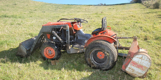 The tractor that rolled on a Welcome Bay property, seriously injuring the 71-year-old driver. Photo/John Borren
