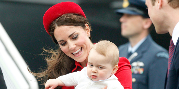 The Duke and Duchess of Cambridge with Prince George in Wellington. Photo / Mark Mitchell