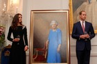 The Duke and Duchess of Cambridge at the portrait unveiling at Government House in Wellington. Photo / Pool