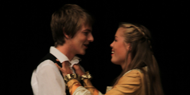 Adam Berry and Brooke Jenner in a scene from Much Ado About Nothing. Photo / Bronwyn Cleave-Mara