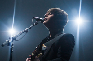 Jake Bugg cuts a lonely figure on stage. Photo/Tony Woolliscroft/WireImage