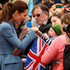 Catherine, Duchess of Cambridge speaks with members of the crowd at a ceremony at the war memorial in Seymour Square, Blenheim. Photo / Getty Images