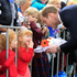 Prince William, Duke of Cambridge speaks with members of the crowd at a ceremony at the war memorial in Seymour Square, Blenheim. Photo / Getty Images