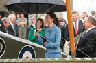 Catherine, Duchess of Cambridge looks on during a visit to Omaka Aviation Heritage Centre with Sir Peter Jackson. Photo / Getty Images