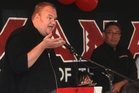 Kim Dotcom addresses the Mana Party meeting. Photo / Daily Post