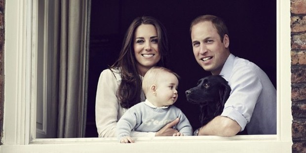 Prince William, Duke of Cambridge and Catherine, Duchess of Cambridge with their son Prince George and pet dog Lupo. Photo / AFP