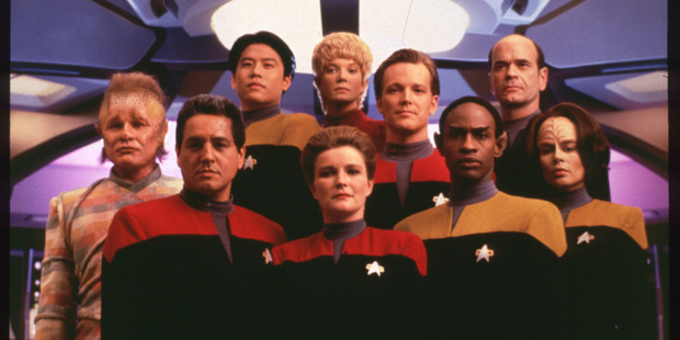 Star Trek: Voyager actress Kathryn Mulgrew (front, centre) has narrated a documentary claiming Earth is the centre of the universe.