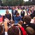 Catherine, Duchess of Cambridge, talks to the crowd in Blenheim. Photo / Kurt Bayer