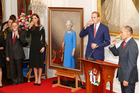 Catherine, Duchess of Cambridge, Prince William, Duke of Cambridge unveiling of a portrait of Queen Elizabeth II by New Zealand artist Nick Cuthell. Photo / Getty Images