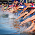Triathletes entering the water during the Elite Men's Barfoot & Thompson World Triathlon. Photo / Sarah Ivey