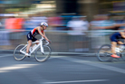 Cycling during the Elite Women's Barfoot & Thompson World Triathlon. Photo / Sarah Ivey