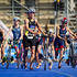 The cycling transition to running during the Elite Women's Barfoot & Thompson World Triathlon. Photo / Sarah Ivey