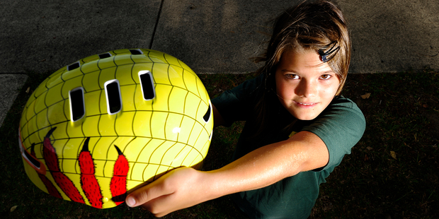 Anita Clews, of  Katikati Primary,  was the 9-10 years section winner for the Travel Safe Cycle Helmet Competition. Photo/George Novak