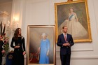 Prince William and the Duchess of Cambridge at Government House this evening. Photo / pool