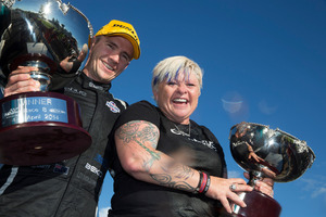 Lee Holdsworth of Erebus Motorsport V8 with team owner Betty Klimenko after his first win of the V8 Supercars series at Winton.Picture / Edge photography