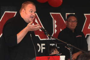 Kim Dotcom speaks at the Mana Party AGM at Mataikotare Marae in Rotorua this afternoon. Photo / Ben Fraser