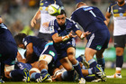 Halfback Bryn Hall of the Blues showed his inexperience on Friday night. Photo / Getty Images