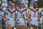 Sam Tomkins, Shaun Johnson, Simon Mannering and Manu Vatuvei of the Warriors look dejected after a Sharks try during the round five NRL match. Photo / Getty Images.