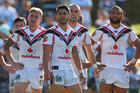 Sam Tomkins, Shaun Johnson, Simon Mannering and Manu Vatuvei of the Warriors. Photo / Getty Images