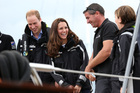 The Duke and Duchess at Auckland's Viaduct Harbour, where Kate would go on to win both races. Photo / Fiona Goodall