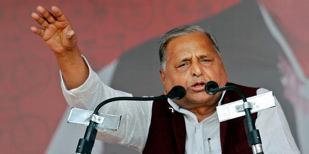 Samajwadi Party President Mulayam Singh Yadav addresses a public rally in Allahabad, India. Photo / AP
