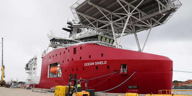 The Australian navy ship Ocean Shield is docked at naval base HMAS Stirling while being fitted with an autonomous underwater vehicle. Photo / AP