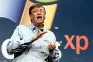 Former Microsoft chairman Bill Gates speaks during the product launch of the Windows XP operating system. Photo / AP