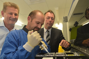 From left David Darling, Justin Harvey senior scientist and Chris Swann of Pacific Edge pic/ODT