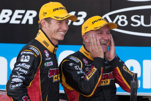 File Photo: Russell Ingall (right) and Ryan Briscoe of Supercheap Auto Racing finished 3rd during the 2013 Gold Coast 600. Ingall has been fined for comments made at the Winton 400 last weekend.  Photo / EDGE Photographics