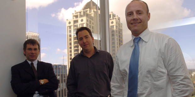 Simon Botherway (right) with Paul Glass (centre) and Andrew South (left) in a 2004 photo of the popular Brook Asset Management team. Photo / NZ Herald
