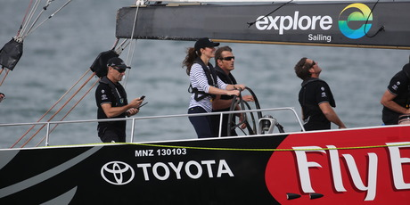 Catherine the Duchess of Cambridge steers NZL41 America's Cup Yacht during racing on the Waitemata Harbour. Photo / Greg Bowker