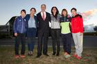 Team captains L/R Myuki Nakagawa of Japan, Luciana Aymar of Argentina, Lawrence Yule Hastings Mayor, Kayla Whitelock of New Zealand, Kim Jong Eun of Korea, Cui Qiuxia of China.