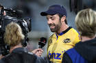 Hurricanes centre and captain Conrad Smith talks to media after his team's triumph over the Bulls.