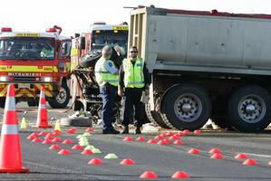 Police at the scene of a fatal crash on SH1 near Mata.