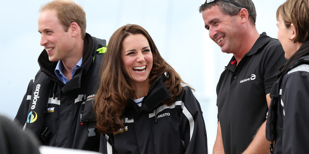 The Duke and Duchess of Cambridge had fun on the harbour in Auckland. They will head to the South Island on Sunday. Photo / Pool