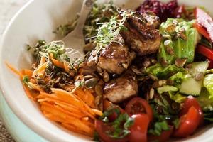Aaron's very vibrant salad with tasty tofu. Photo / Random House