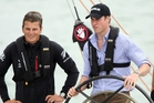 Prince William on NZL41 with Team NZ skipper Dean Barker in 2010. Photo / Dean Purcell