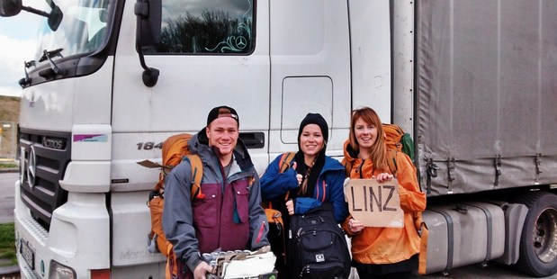 """Team """"Freedom Hunters"""" completed the cross-Europe challenge using only Red Bull for currency. This photo was posted on their blog during the trip."""