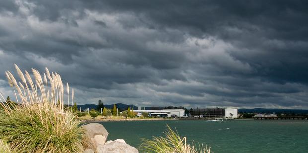 Storm clouds gathering over Tauranga.