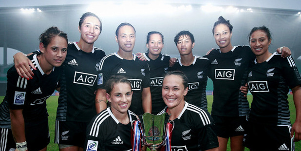 New Zealand players celebrate after winning the Chinese leg of the IRB Women's sevens series. Photo / Getty Images