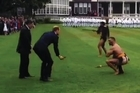 A snapshot of the official welcoming ceremony at Government House for the Duke and Duchess of Cambridge.