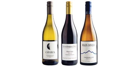 Opawa Marlborough Sauvignon Blanc 2013, Grasshopper Rock Earnscleugh Vineyard Central Otago Pinot Noir 2012 and Main Divide Waipara Valley Chardonnay 2012. Photo / Babiche Martens