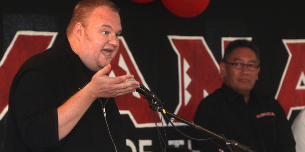 Kim Dotcom speaks at the Mana Party AGM at Mataikotare Marae. Photo / Ben Fraser