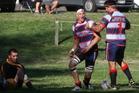 Rotoiti's Tute Malcolm, left, and Joe Royal celebrate a try against Mount Maunganui.
